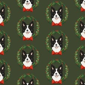 border collie christmas wreath dog breed fabric green