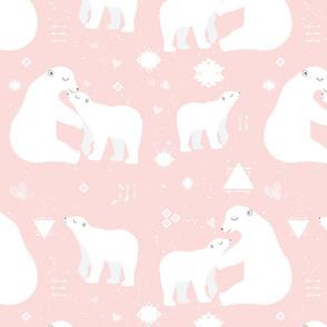 polar bear tribal with snow splatter on pink background