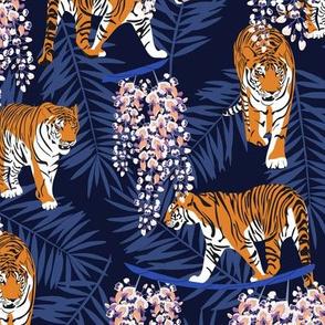 Siberian tiger. Blue pattern