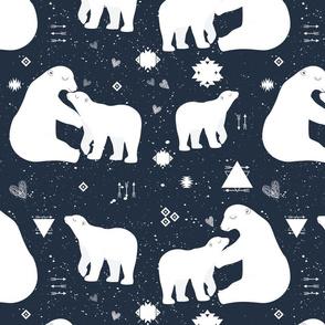 polar bear tribal with snow splatter on navy background