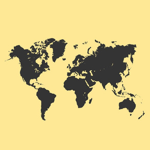 World map_black on yellow