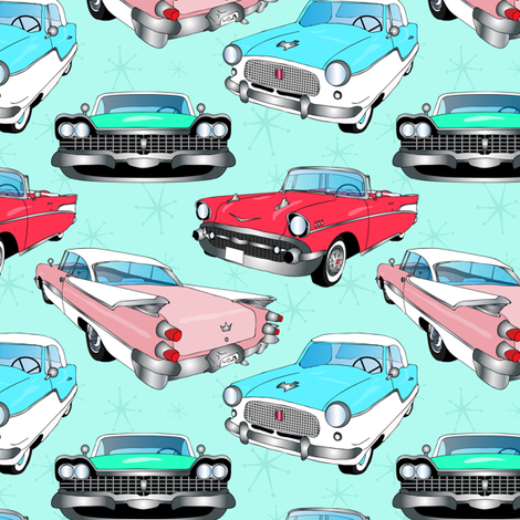 Retro Fins + Fenders in Mod Mint fabric by elliottdesignfactory on Spoonflower - custom fabric