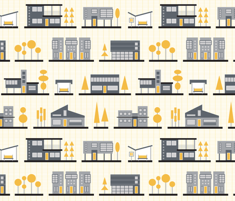 The Modernist Neighborhood fabric by brendazapotosky on Spoonflower - custom fabric
