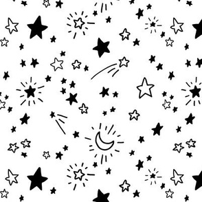 Freehand Stars #1 in black on white