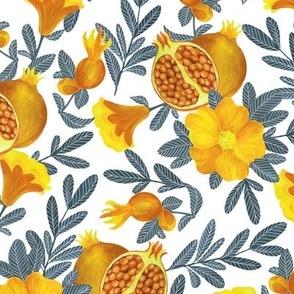 Yellow pomegranate. White pattern