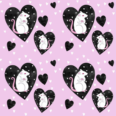 Rat Love - black and pink fabric by blacklilypie on Spoonflower - custom fabric