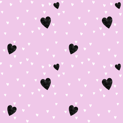 Black and white hearts on pink fabric by blacklilypie on Spoonflower - custom fabric