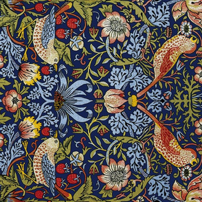 William Morris ~ Strawberry Thief ~ Bright  Blue ~ Rotated