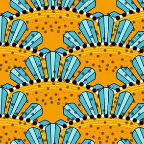 Aqua and Yellow Sunburst Scallops by Amborela