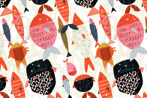 Marine Commute M+M Red Vertical by Friztin fabric by friztin on Spoonflower - custom fabric