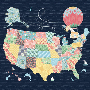 Nomi & Brave Travel America - 18x21 fat quarter panel