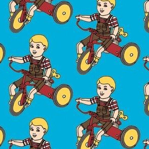 Wind up Tin Litho Toddler on Trike Toy