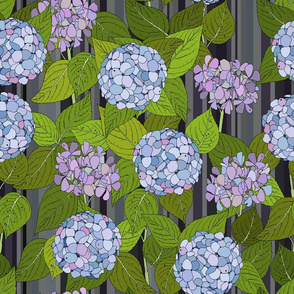 Hydrangea tile grey stripe - Large