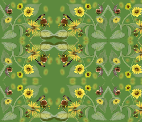 Sunflowers with Lesser Goldfinches fabric by dulciart,llc on Spoonflower - custom fabric
