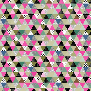 triangles coloured and textured_pink and green-02