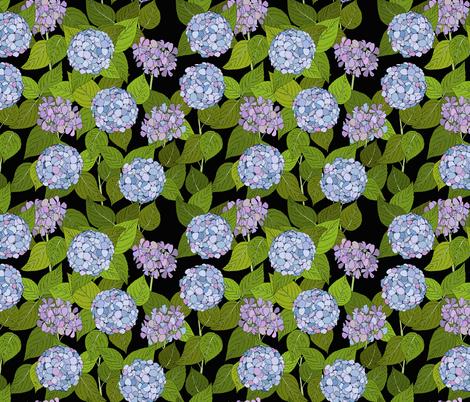 Hydrangea tile black fabric by coppercatkin on Spoonflower - custom fabric