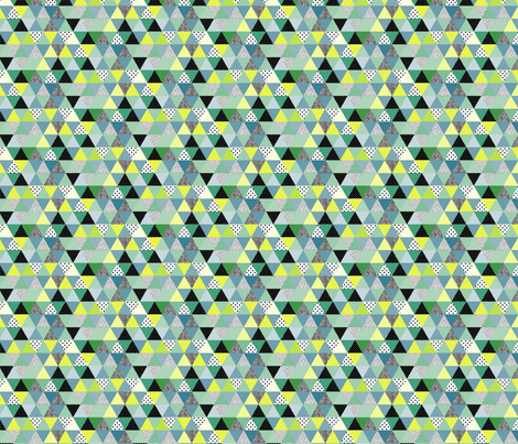 triangles coloured and textured_greenies-03 fabric by thepoonapple on Spoonflower - custom fabric