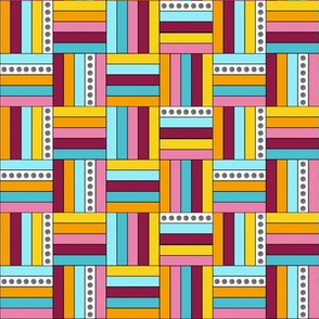 Basketweave Quilt Squares in Pink, Aqua, Yellow by Amborela