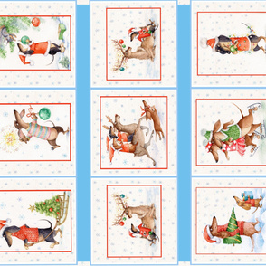 Christmas doxie Dachshund funny panel Quilt Crib Blanket Wall hanging