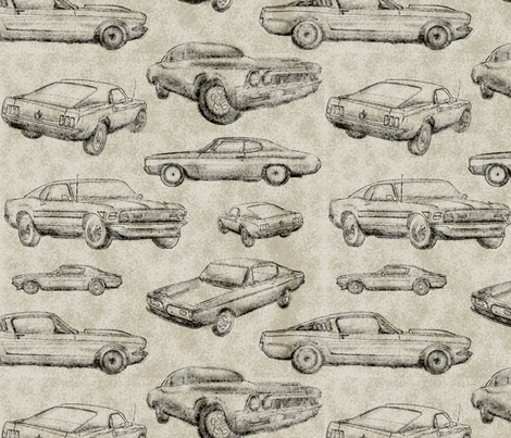 Muscle Cars - Dirt fabric by sugarpinedesign on Spoonflower - custom fabric