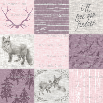 Love you forever - woodland animals - pink and purple