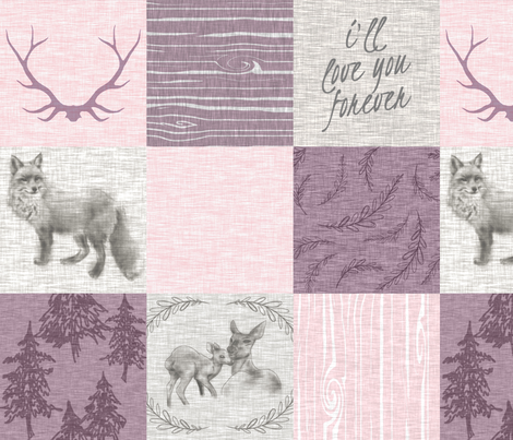 Love you forever - woodland animals - pink and purple fabric by sugarpinedesign on Spoonflower - custom fabric