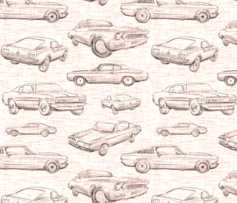 Muscle Cars - sepia fabric by sugarpinedesign on Spoonflower - custom fabric