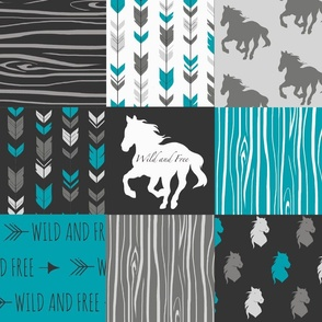 Horse Patchwork - Teal,Black, grey