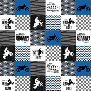 3 inch Motocross//A little Dirt Never Hurt - Wholecloth Cheater Quilt - Blue