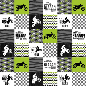 3 inch Motocross//A little Dirt Never Hurt -  Wholecloth Cheater Quilt - Lime