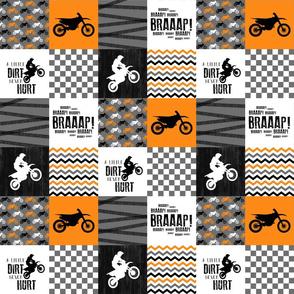 3 inch Motocross//A little Dirt Never Hurt - Wholecloth Cheater Quilt - Orange