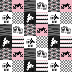 3 inch Motocross//A little Dirt Never Hurt - Wholecloth Cheater Quilt - Pink