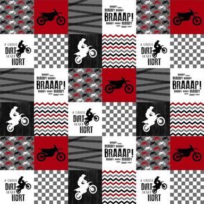 3 inch Motocross//A little Dirt Never Hurt -  Wholecloth Cheater Quilt - Red