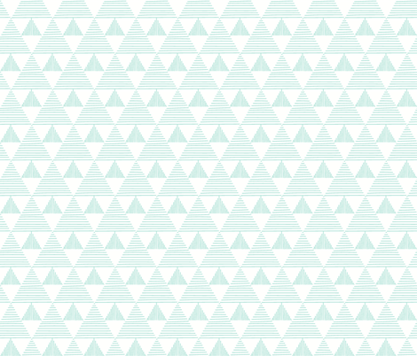 Stripy triangles - mint on white fabric by vivdesign on Spoonflower - custom fabric