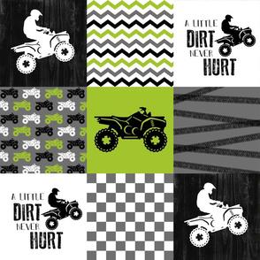 4 Wheel/ATV/A little Dirt Never Hurt - Wholecloth Cheater Quilt - Lime