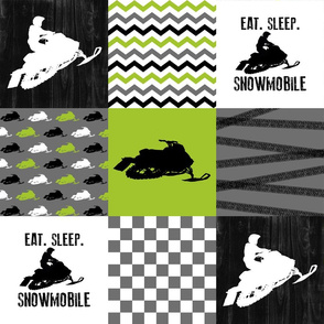 Eat Sleep Snowmobile - Wholecloth Cheater Quilt - Lime
