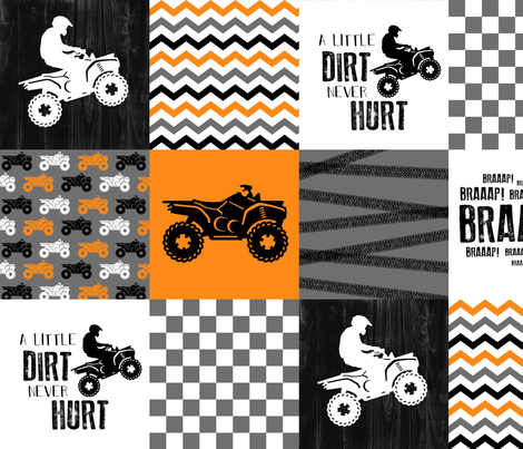 4 Wheel/ATV/A little Dirt Never Hurt - Wholecloth Cheater Quilt - Orange fabric by longdogcustomdesigns on Spoonflower - custom fabric