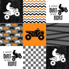 4 Wheel/ATV/A little Dirt Never Hurt - Wholecloth Cheater Quilt - Orange