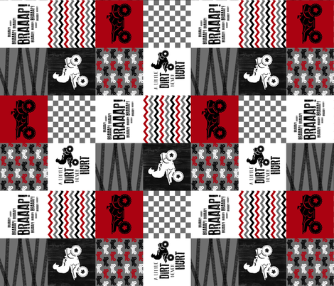 3 inch 4 Wheel/ATV/A little Dirt Never Hurt - Wholecloth Cheater Quilt - Red - Rotated fabric by longdogcustomdesigns on Spoonflower - custom fabric