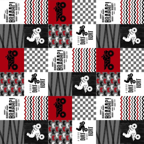 3 inch 4 Wheel/ATV/A little Dirt Never Hurt - Wholecloth Cheater Quilt - Red - Rotated
