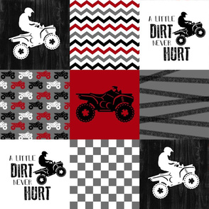 4 Wheel/ATV/A little Dirt Never Hurt - Wholecloth Cheater Quilt - Red