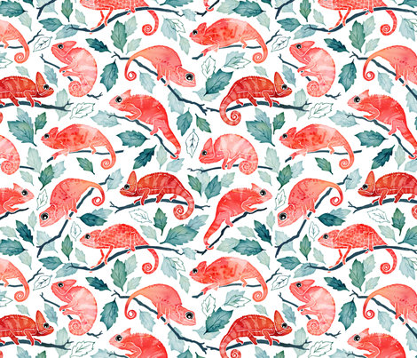 Chameleon garden small fabric by adenaj on Spoonflower - custom fabric