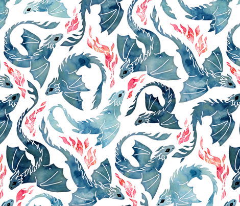 Dragon fire fabric by adenaj on Spoonflower - custom fabric