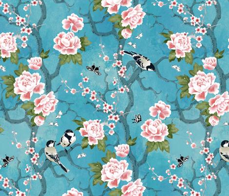 Chinoiserie birds fabric by adenaj on Spoonflower - custom fabric