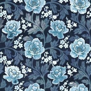 Victorian Peony Blue