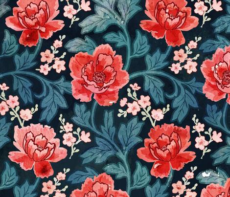 Victorian Peony fabric by adenaj on Spoonflower - custom fabric