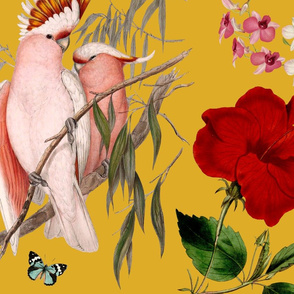 Tropical Birds Wallpaper Mustard