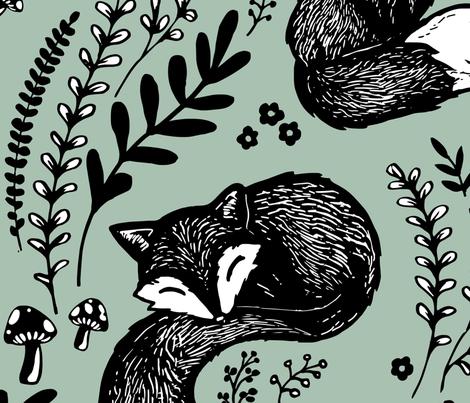 Fox flowers green large-scale fabric by adenaj on Spoonflower - custom fabric