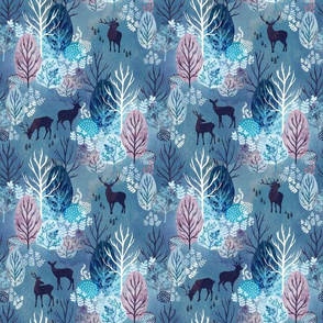 Steel blue forest deer small