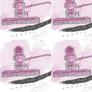 Mahdrescher pink von oben